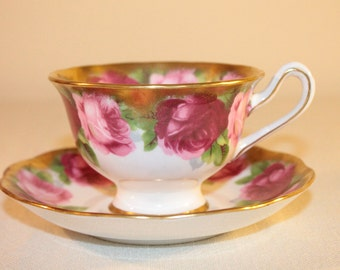 Royal Albert Old English Roses Cup and Saucer – 1930's