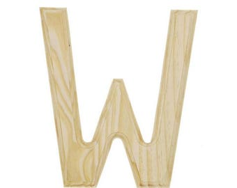"6"" Blank Unfinished Wooden Letter W"