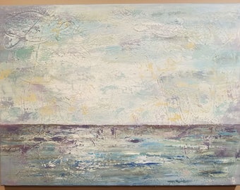 "Original Abstract Painting Acrylic Art Textured Wall Decor Canvas 24x18in ""Seascape IV"" Landscape Home Decor Modern Coastal Blue Teal White"