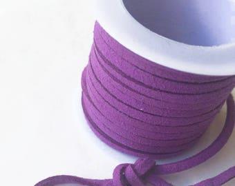 Suede lace / purple LILAC /largeur 3mm cut 50 cm