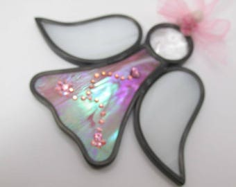 Pink and White Irridized Stained Glass Angel Ornament or Suncatcher with Swarovski Crystal Heart