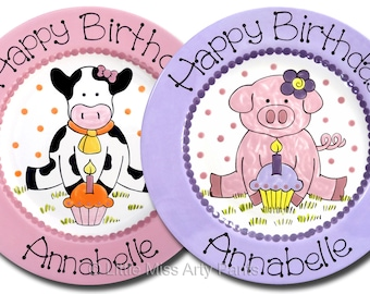 Personalized Birthday Plates - Happy Birthday Plate - 1st Birthday Plate - Hand painted Ceramic Birthday Plate - Birthday Piggy/Cow Design