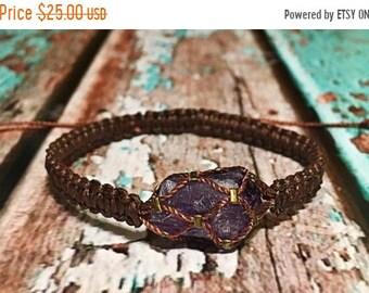 SALE Raw Amethyst Bracelet / Chakra Healing Bracelet / Healing Crystal Bracelet / Raw Crystal Jewelry