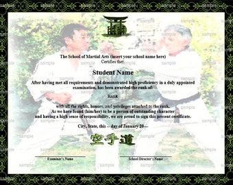 Sparring Martial Arts/Karate Rank Belt Certificate Template