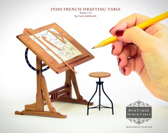 Miniature 1920s French Drafting  Table, Drawing, easel adjustable , dollhouse furniture, Library, Study room artisan 1 inch, 1:12 Scale