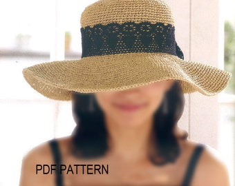 pdf download crochet  floppy hat pattern, wide big brim sun hat pattern