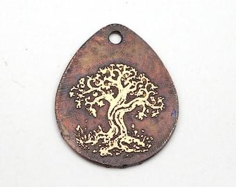 Teardrop tree pendant, flat metal copper etched charm, handmade jewelry supply, 25mm