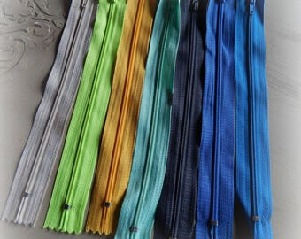 7 zippers of mixed colors, 20 cm set number 1