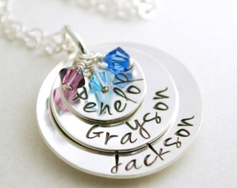 Custom Stacked Name Necklace - Personalized Mom Necklace Three Kids Names Mother Jewelry Hand Stamped Silver