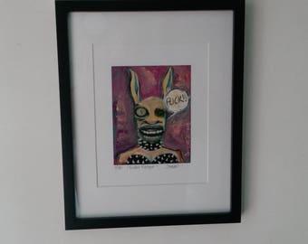 "Outsider Art Print framed - Art Brut - Primitive art Print, Raw art,   "" F**ken Rabbit! Print"""