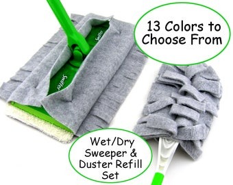 Set of 2, Double Sided Swiffer Sweeper  & Duster Refill, Swiffer Cover, Fleece, Terry, Swiffer Duster, Sweeper Cover, Mop Cover, Wet, Dry