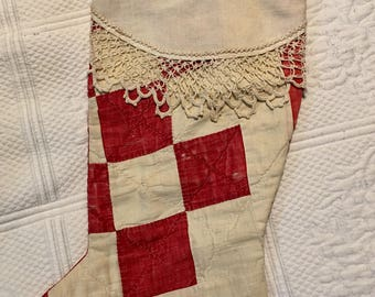 Antique quilt Christmas stocking with antique lace