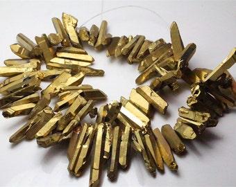 Titanium raw crystal quartz point beads ,raw gemstone point beads,healing stone beads,full strand
