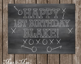 Football Sports Banner, Football Party Decor, Football Party Banner, Chalkboard Birthday Banner, Digital File