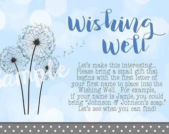 Wishing Well Cards - Ultrasound Dandelion Wish Baby Boy Shower Invitation - Blue and Gray Polka Dot - 3.5x5 in.