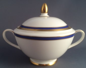 Minton Saturn Blue Lidded Handled Sugar Bowl For Tea