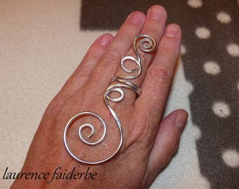Elven ring silvered hammered aluminum