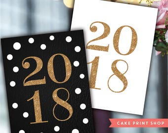 2018 printable, 2018 new years a decor, New Year Party printable, new year signs, 2018 glitter, glitter new years, glitter gold new year