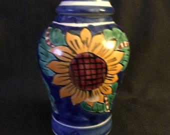 Vintage Talavera Mexican Pottery Ginger Jar Sunflower Design Mexican Folk Art