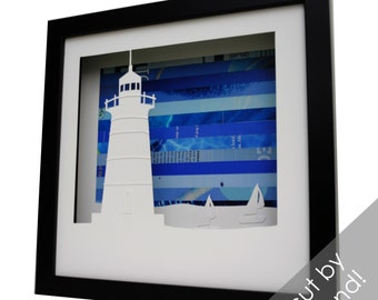 lighthouse shadowbox- made from recycled magazines, beach, summer, waves, ocean, winds, coastal