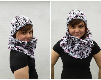 White, black and pink cowl and matching hat, hat and cowl set, t shirt yarn, infinity cowl, white and black set, chunky cowl, black white