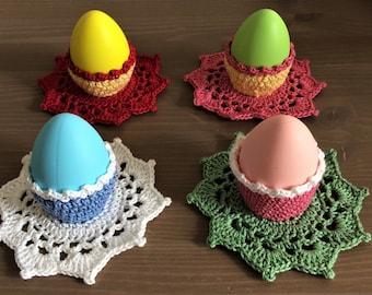 A set of 4 handmade crochet Easter egg cozies