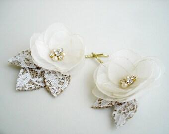 Bridal hair piece Wedding hair flower Bride hair Accessories Rustic Headpiece Burlap Lace Wedding Hair Clip Ivory Pearl Crystal Hair