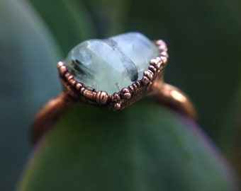 Prehnite | Prehite Ring | Copper Ring | Prehnite Stone | Mineral Ring | Ready-To-Ship