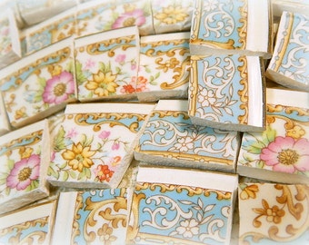 China Mosaic Tiles - ViNTaGE BLuE LaCE PiNK RoSeS - Mosaic Tiles