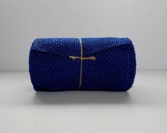 """Blue BURLAP JUTE Mesh Ribbon Roll, Dark blue, 5.5"""" x 15',  5 yds of 100% Jute Blue Burlap Ribbon"""