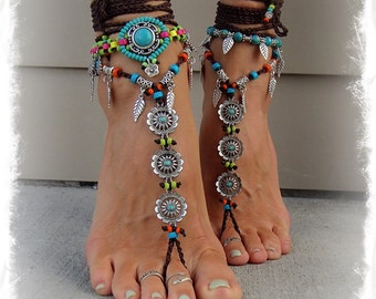 Daisy BAREFOOT Bohemian WEDDING barefoot sandals BROWN Toe Anklets crochet Sandals sole less shoes crochet toe thongs Belly Dance GPyoga