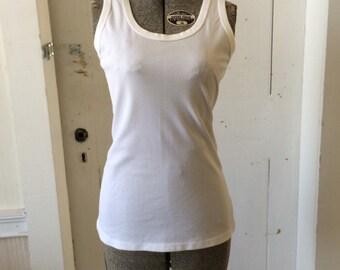 1970s Nylon Knit Plain White Tank Top Size Medium