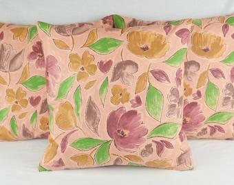 Hibiscus by Designers Guild Cushion Cover 43cm x 43cm Dusky Pink, Plum, Sand