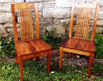 The Williamsburg Wormy Chestnut Colonial Style Dining Chairs
