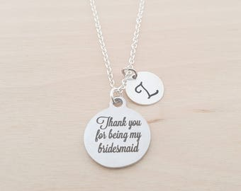 Bridesmaid Necklace - Silver Necklace - Cute Quote - Personalized Necklace - Initial Necklace - Custom Jewelry - Personalized- Gift for Her