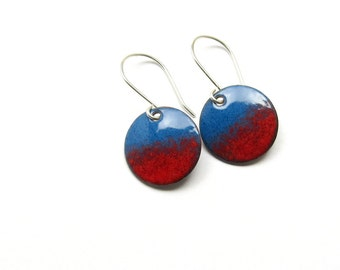 Red and Blue Drop Earrings - Modern Jewelry - Enamel on Copper and Sterling Silver - Jewelry Gift for her