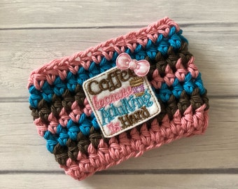Coffee cup cozy, pink cozy, adulting, coffee cup cozy, coffee cozy, crochet cup cozy, coffee cup sleeve, adulting and coffee, cup cozy