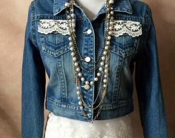 Chic Upcycled Denim Jacket w/lace details