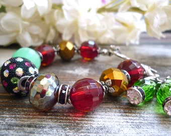 antique vintage inspired bracelet, bijouxgeisha bracelet, czech glass bracelet,  toggle leaf clasp bracelet, rhinestone focal bracelet,