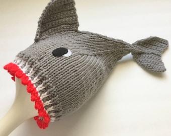Shark Hat, Newborn Halloween Cap , Hand Knit Baby Hat, Baby Shower Gift, Gray Baby Cap, Photo prop, Knit Baby Gift, Novelty Infant Hat