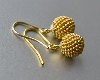 little globe earrings gold satin