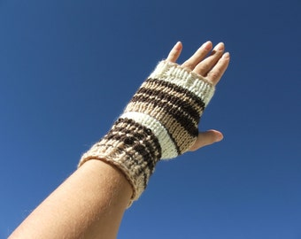 Brown and white fingerless gloves, stripes fingerless mittens, brown wrist warmers