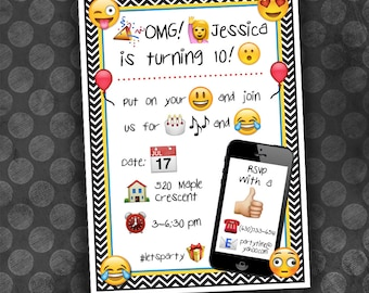 EMOJI Birthday Invitation / Digital File / Printable / Customizable