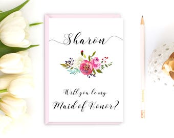 Maid of Honor proposal, Maid of Honor card, Will you be my Maid of Honor, Wedding card, flora Maid of Honor
