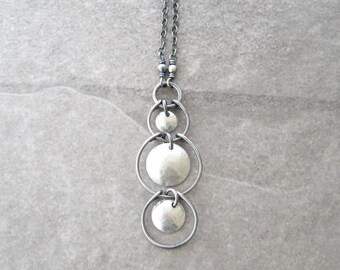 silver necklace, sterling silver chain, metalwork pendant