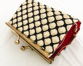 Lipstick Case- Vintage yellow gold glitter purse compact travel lipstick jewelry case