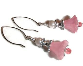 Pink Flower Dangle Earrings Acrylic Flowers Crystals Pink Feminine E8