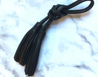 Leather tassel / Long tassel handbag / long leather tassel / tassel charm leather / handbag tassel / purse charm / tassel long