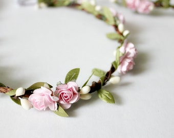 Mommy and Me Floral Crown Set, Bohemian Flower Crown. Woodland, Summer, spring, pink floral crown, photo prop, Flower Girl