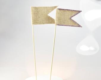 10 pcs/set Burlap Flag on a Long Stick Cake Topper Party Birthday Wedding Supplies Wedding Decoration